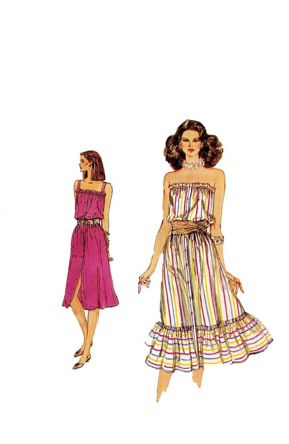 década de 1980 VOGUE vestido patrón botón verano Boho frente | Etsy