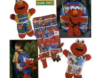 """TICKLE ME ELMO Simplicity 8139 Clothes Pattern for 16"""" Elmo Pajamas Backpack Wall & Travel Car Seat Organizer UNCuT Craft Sewing Patterns"""