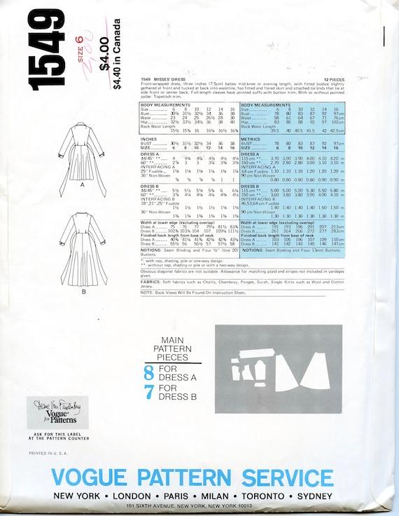 1970s Vogue 1549 Diane von Furstenberg WRAP DRESS Pattern Maxi | Etsy