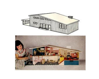 DOLLHOUSE PLANS Mid Century Split Level Doll House McCalls DiY Betsy McCall Eames Style Dollhouse McCalls 150 Craft Patterns *REPRODUCTION*