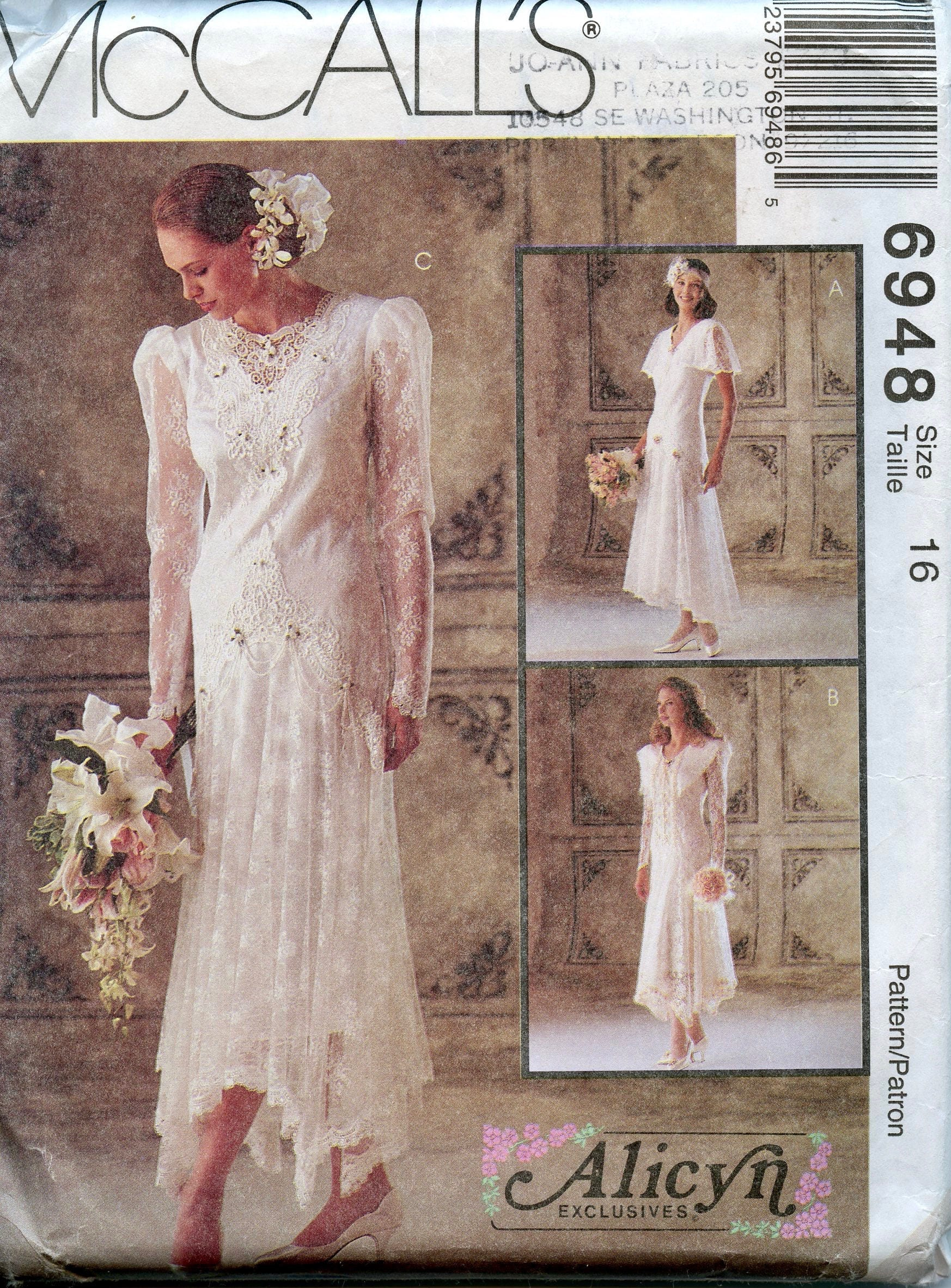 McCall\'s 6948 Lace Wedding Dress Bridal Gown Maid of Honor   Etsy
