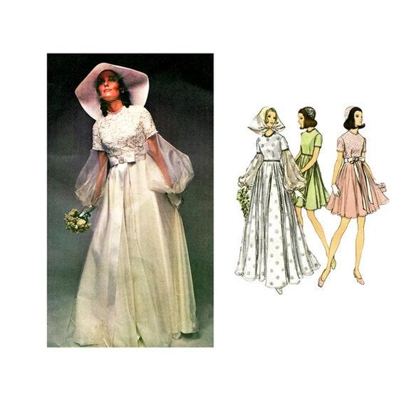 Vintage Wedding Dresses Canada: 1970s Vogue 2254 WEDDING DRESS PATTERN Mod Boho Bridal
