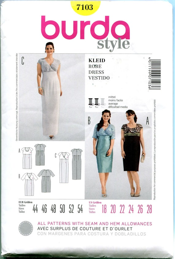 EVENING GOWN PATTERNS Cocktail Dress Patterns Maxi Dresses Raised Waist Burda 7103 Bust 39.5 to 50.5 UNCuT Womens Plus Size Sewing Patterns