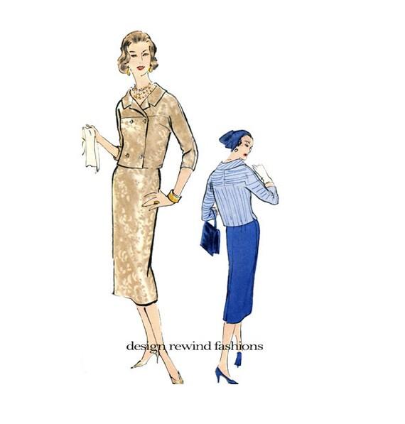 1950s Vogue 4838 Womens Suit Pattern Jacket Skirt Pattern Etsy