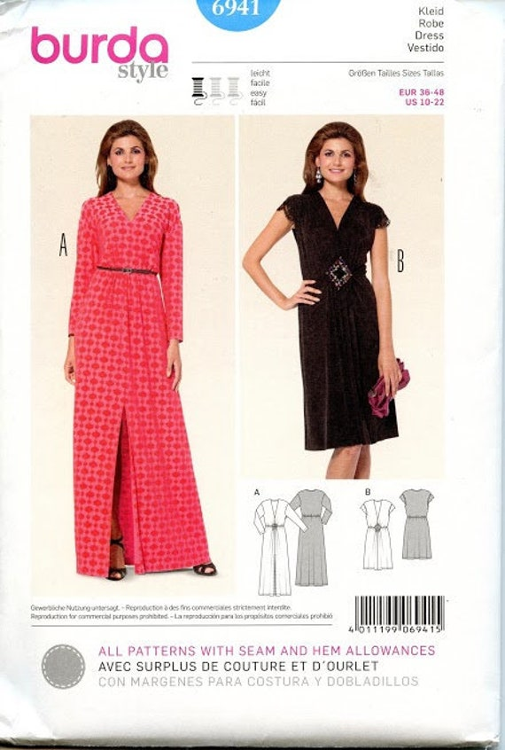 EVENING GOWN PATTERN Cocktail V Neck Maxi Dress Long or Short Sleeves Burda 6941 Size 10 22 UNCuT Womens Sewing Patterns