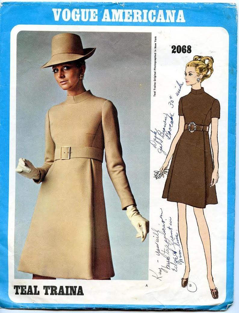 Patroon Stuk Staande KraagEtsy Jurk Een 2068 Dress Vogue Coltrui doerBCxW
