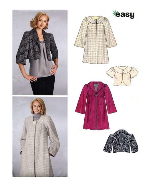WOMENS JACKET PATTERN Coat Pattern New Look 6832 Easy Collarless ...