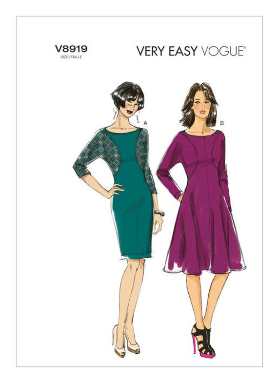 VOGUE 8919 DRESS PATTERN Pullover Dress with Seam Detail & | Etsy