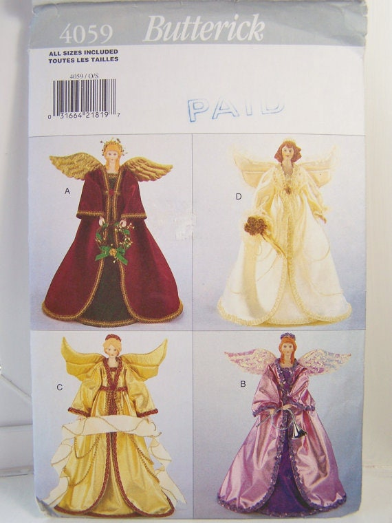 ANGEL TREE TOPPER Table Centerpiece Christmas Craft Sewing Etsy Unique Craft Sewing Patterns