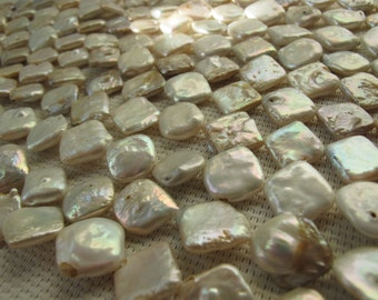 12-14mm Natural White Freshwater Square Pearl PL104