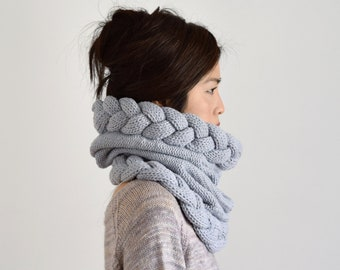 Chunky Knit Scarf, Hooded Scarf, Snood, Cowl Scarf, Winter Scarf