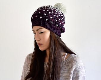 6dda2b94e63 Slouchy Hat Wool Knit Hat Windowpane Fair Isle Hat