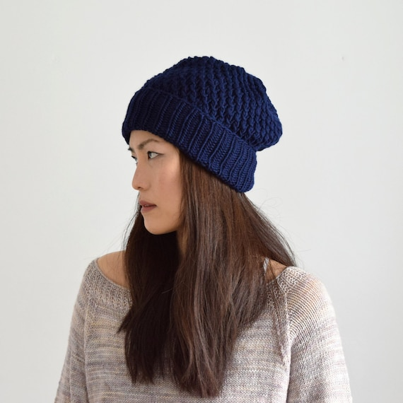 Thick Wool Beanie Men s Knit Hat Black Chunky Beanie  bc60a5b3156
