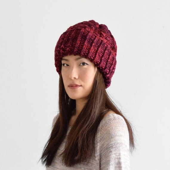 7b47f6641ab31 Red Knit Hat for Women Chunky Cable Knit Beanie Wool Toque