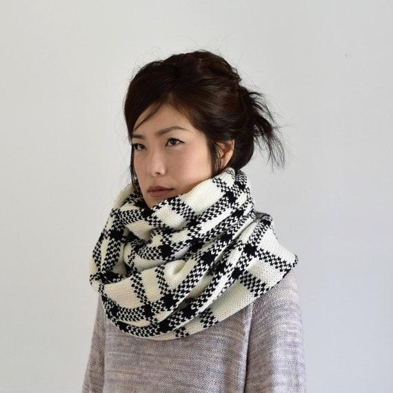 Grobstrick Schal stricken Schal schwarz und weiß-Schal | Etsy