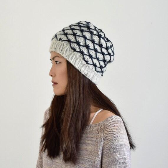 23da890c3ad Alpaca Knit Hat Slouchy Hat Women s Knit Hat Gray
