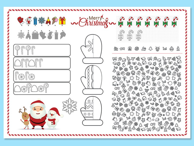 graphic relating to Printable Placemat identify Xmas Printable Placemat Youngsters Match Desk Mat Xmas Craft  Game Website page Printable Placemat Fast Down load
