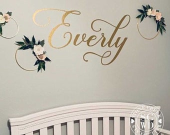 Name Wall Decal, Name Decal for Wall, Nursery Decor, Baby Girl Wall Name Decal, Baby Girl Nursery Decal, Girls Bedroom Decor Gold Name Decal