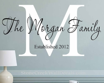 Personalized Wall Decal Family Name and Date Decal Vinyl Wall Decal Family Monogram Decal Custom Family Name Wall Decal Name Wall Sign N083