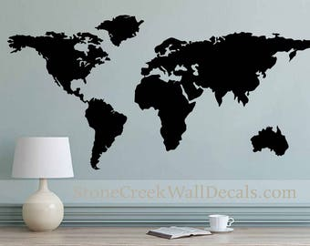 World map decal etsy more colours world map wall decal gumiabroncs Choice Image