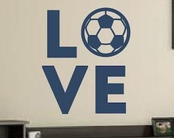 Soccer Decal for Wall, LOVE SOCCER, Soccer Decorations, Soccer Decorations for boys girls bedroom, Soccer Wall Art, Soccer Wall Decal Decor