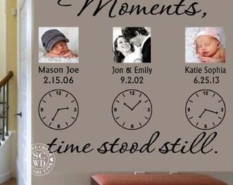 Personalised Wedding Clock Anniversary Keep Sake Wall Art Sticker//Decal#1