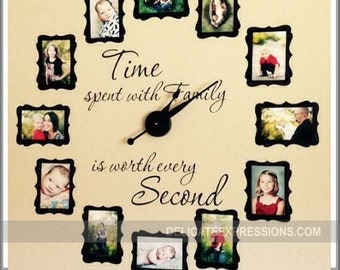 Time Spent With Family Clock Decal Large Family Photo Wall Etsy
