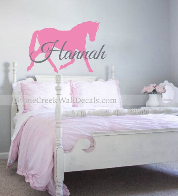 Horse Wall Decals Personalized Horse Decals Horse Wall Decal Girls Horse  Decor Horse Vinyl Decal Horse Name Decal Girls Bedroom Decal N037