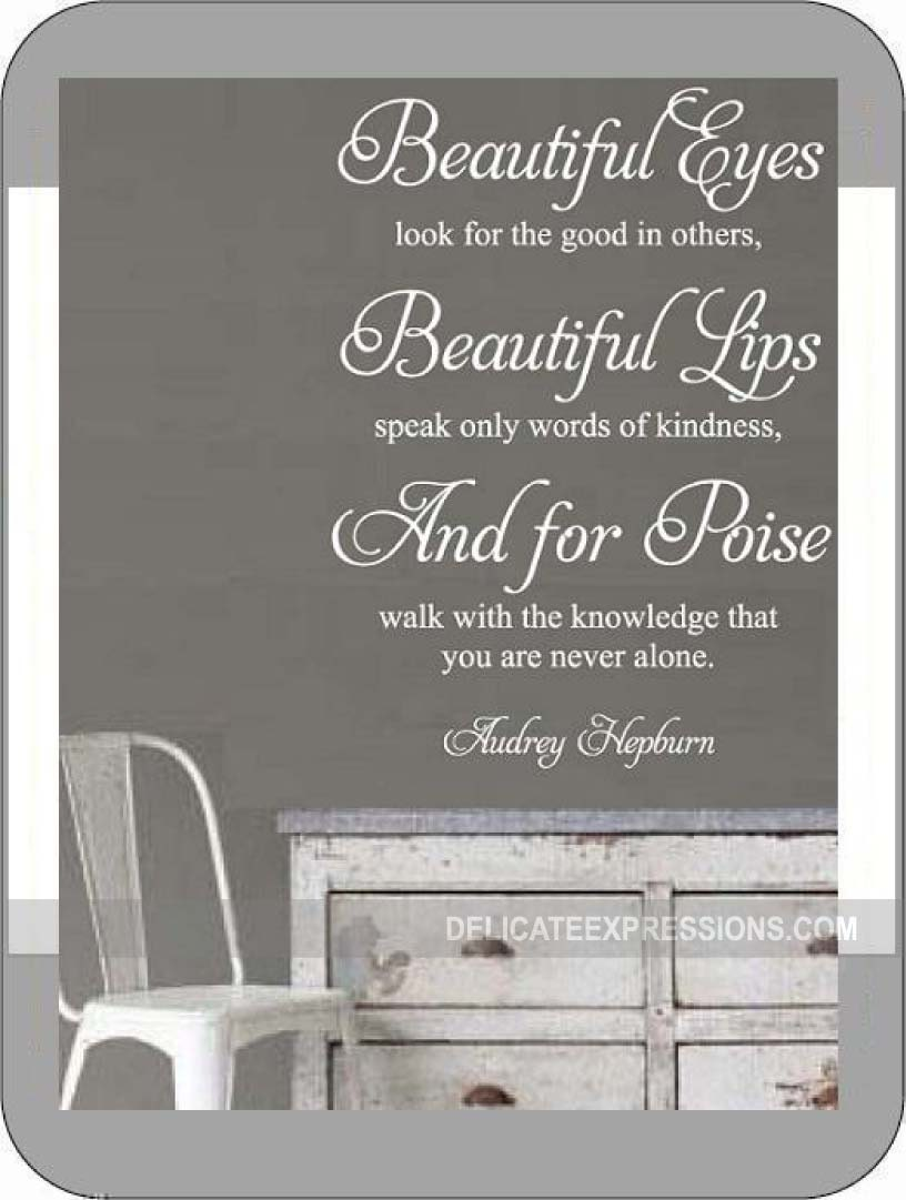 Audrey Hepburn Wall Decal Art Beautiful Eyes Look For The Good In