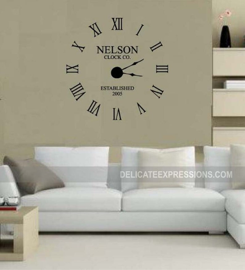 large wall clock decal w/ working clock parts custom family | etsy