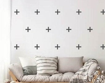 Plus Sign Wall Decals, Set Plus Sign Decal, Geometric Wall Art, Cross Wall Decals, Nursery Decor, BOHO Wall Decal, Wall Stickers