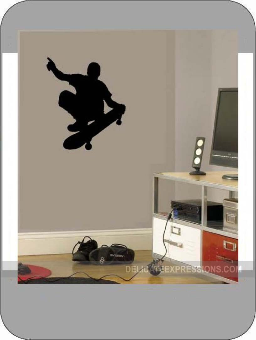Skateboard Vinyl Wall Decal Boys Sports Athletic Bedroom Silhouette Decals