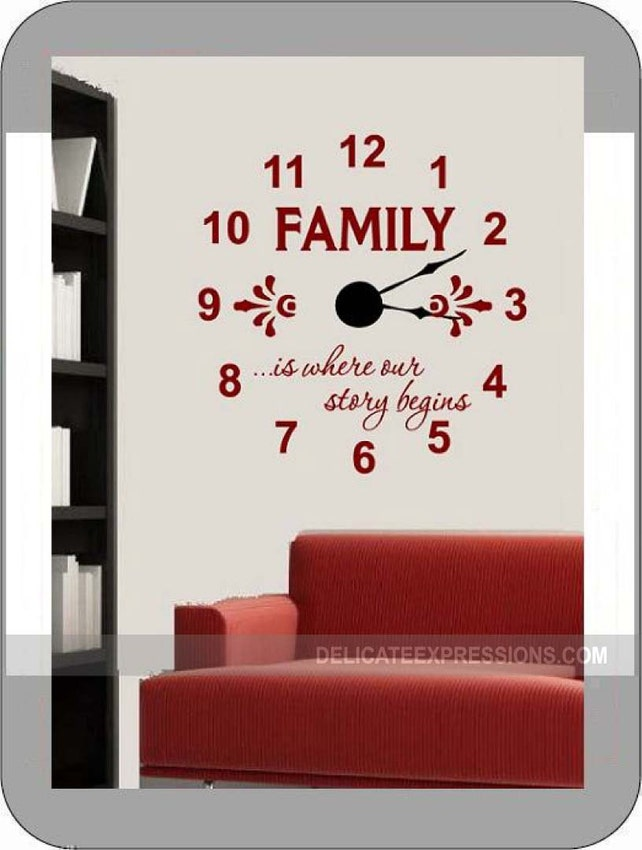 Family Is Where Our Story Begins Large Family Wall Clock Etsy