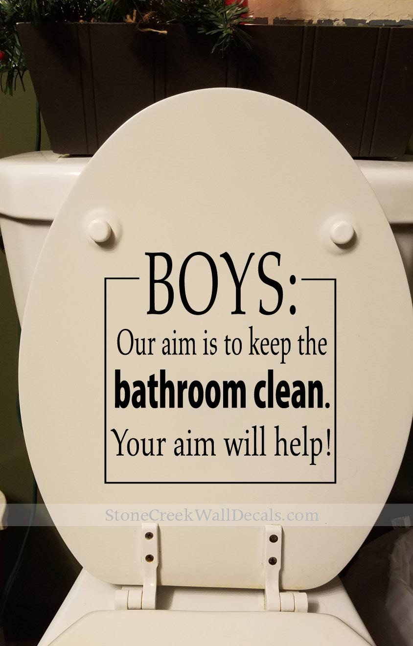 Boys Our Aim Keep The Bathroom Clean Decal Toilet Decal Bathroom