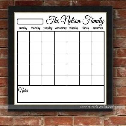 Dry Erase Wall Calendar Personalized Family Calendar Blank Calendar ...