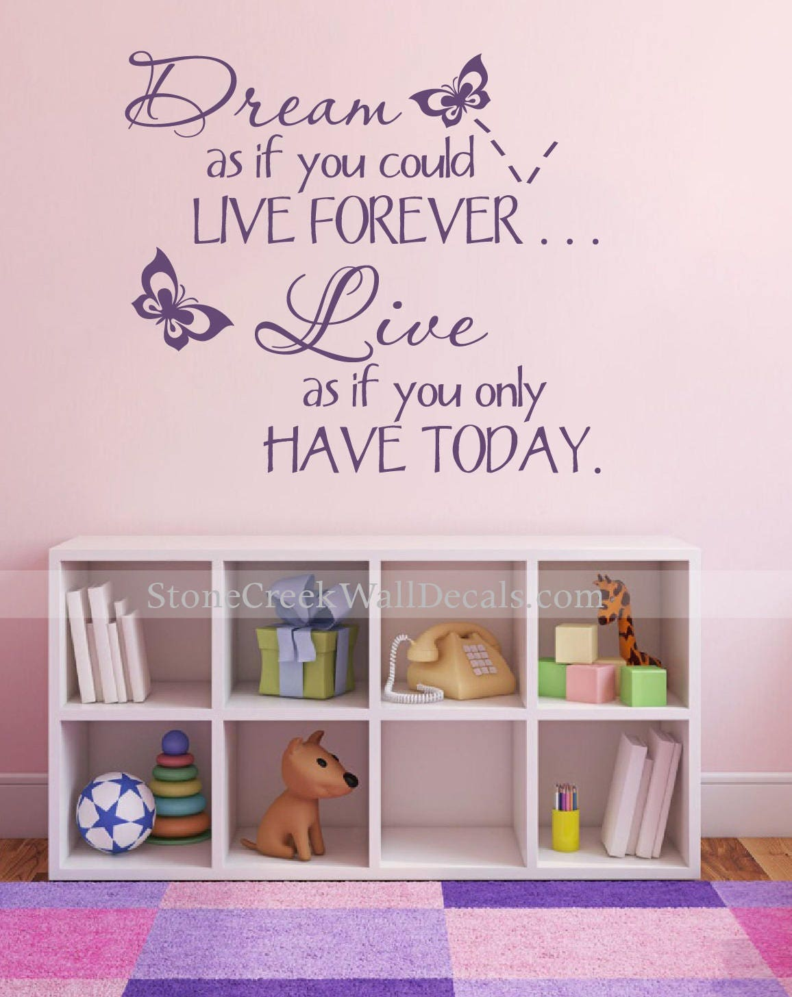 Dream As If You Could Live Forever Kids Teen Room Wall Decals Teen Wall  Nursery Decal Bedroom Decal Children Kids Baby Decal Wall Decor