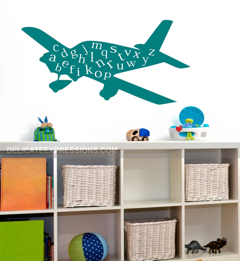 Alphabet Wall Decal Childrens Decor Vinyl Decal Kids Vinyl Wall Art ABC Playroom Wall Decal Airplane Wall Decal Vinyl Lettering