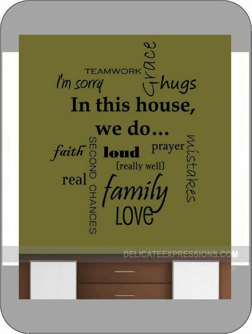 Family Rules Decal In This House We Do Vinyl Wall Sticker Decal