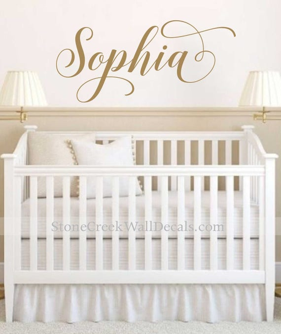 Girls Nursery Decal Name Wall Decal Personalized Name Decor Rustic Cottage  Style Name Decal Girls Bedroom Decor Gold Name Lettering N053
