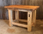 Large Barn Beam Pub Island Table with Authentic Reclaimed Barn Wood Captivating Grain Optional Personalizing