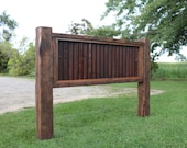 King OR Queen Headboard Reclaimed Barn Wood and Rusty Metal Farmhouse Style Furniture FREE Shipping in USA