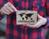 Barn Wood Magnet OR Mini Sign - Adventure Awaits - World Map - Heavy Duty Magnet Locker Art OR Small Wood Sign - Laser Engraved