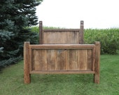 Reclaimed Barn Wood Bed Rustic Saw Marks Authentic Nail Holes Farmhouse Style Furniture | FREE SHIPPING in the USA