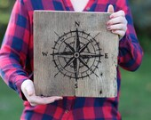 12x12 Reclaimed Barn Wood Sign - Compass - Nautical - Explorer Themed Baby or Boy Room | Wall Art Wooden Sign