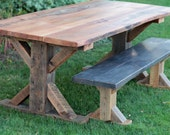 7' Long Farmhouse Table Barn Wood and 6' Long Bench - X-Style Legs - Barn Beam - Authentic Reclaimed Captivating Grain FREE SHIPPING