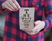 Barn Wood Magnet OR Mini Sign Vision Test -The Most Important Things In Life Aren't Things - Heavy Duty Magnet OR Wooden Sign Laser Engraved