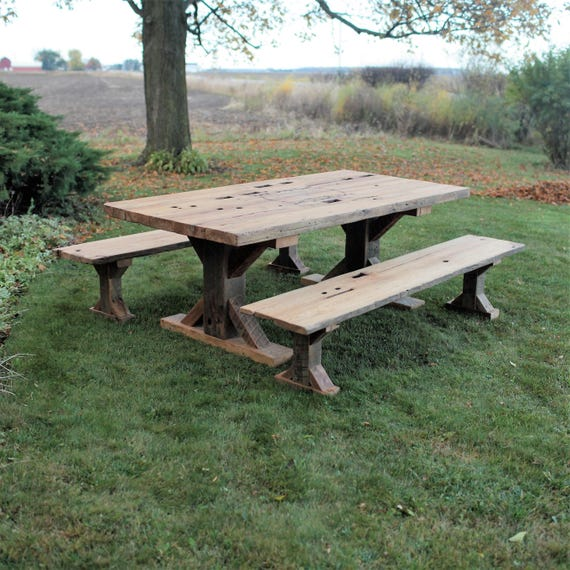 Peachy 7 Long Farmhouse Table Barn Wood With Two 7 Long Benches X Style Legs Authentic Original Barn Beam Your Logo Optional On Table Top Ibusinesslaw Wood Chair Design Ideas Ibusinesslaworg