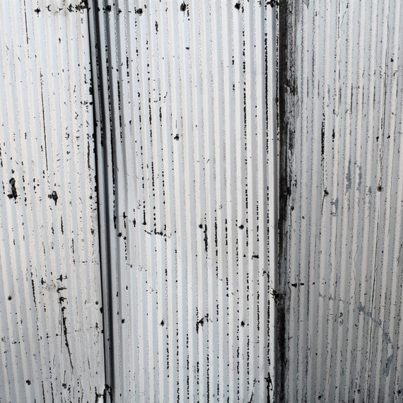 Metal Roofing Barn Corrugated Weathered Silver Painted Tin Beautiful Reclaimed Rustic Patina Free Shipping