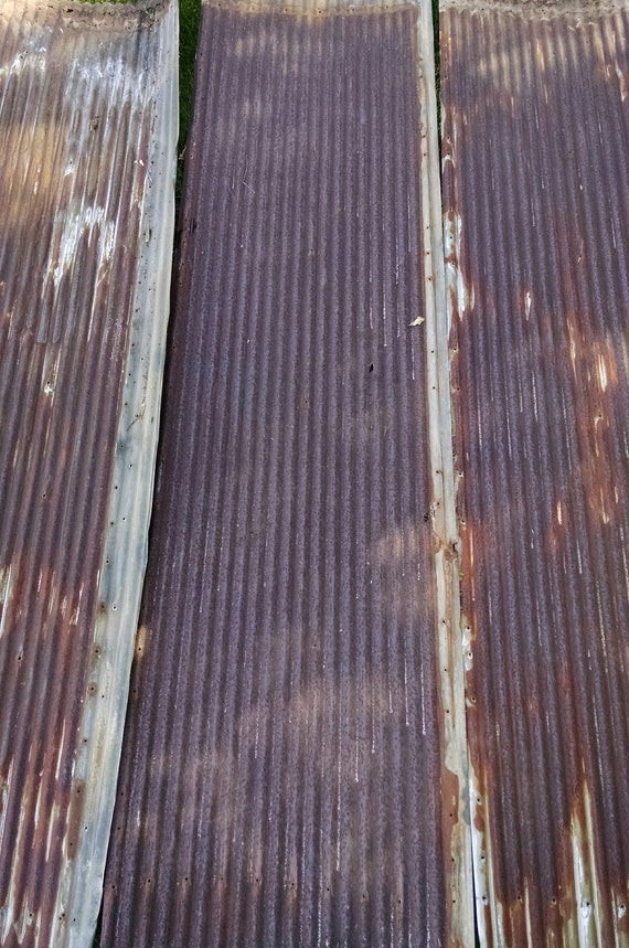 Rusty With Orange And White Reclaimed Corrugated Metal Roofing Etsy