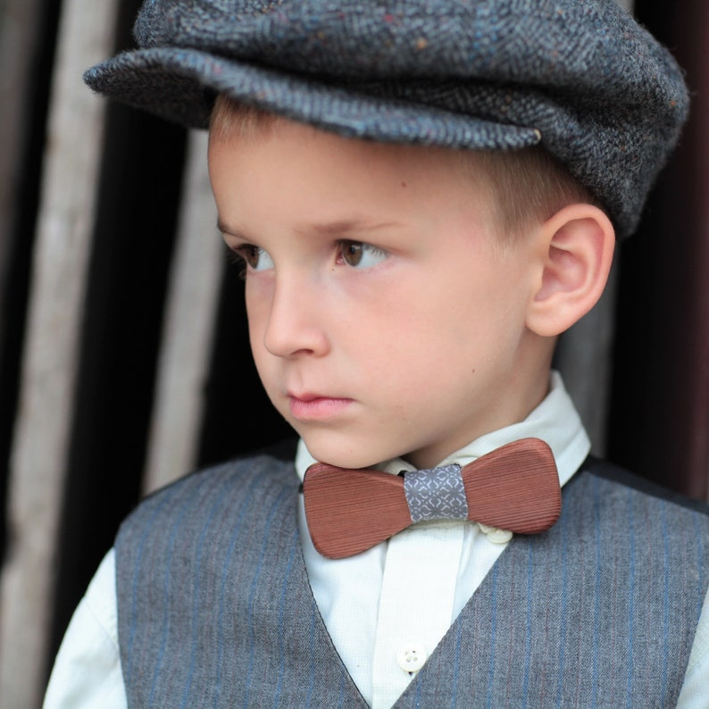 9d0bacea934f3 Adult OR Child Size Wood Bow Tie REDWOOD with Gray and White